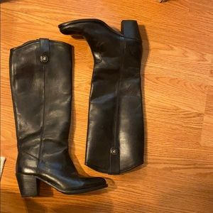 FRYE TALL BLACK JACKIE BUTTON BOOTS